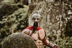 Бородатый строгий ратник в обмундировании гладиатора Стоковое Изображение