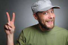 бородатый человек крышки к носить победы Стоковое Фото