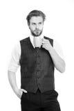 Бородатый человек, серьезный чай питья джентльмена или кофе от чашки Стоковые Изображения