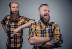 2 бородатых люд в желтой рубашке шотландки Стоковая Фотография