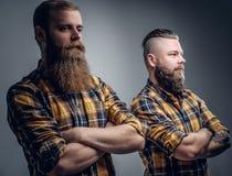 2 бородатых люд в желтой рубашке шотландки Стоковое Фото