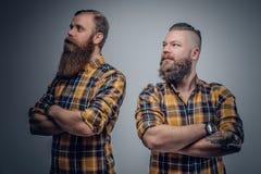 2 бородатых люд в рубашке шотландки Стоковые Фотографии RF