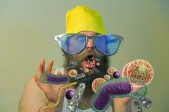 Бородатые бактерии рта человека Стоковая Фотография