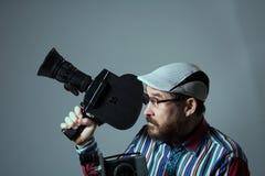 Бородатые камера фильма человека 2 старая ретро Стоковые Изображения RF