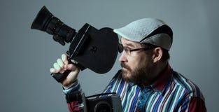 Бородатые камера фильма человека 2 старая ретро Стоковая Фотография RF