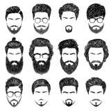 Бородатые стили причёсок человека Стоковые Изображения