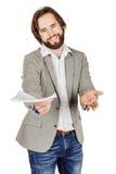 Бородатый бизнесмен протягивая вне документы и смотря кулачок Стоковые Изображения