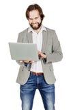 Бородатый бизнесмен с портативным компьютером человеческая эмоция срочная Стоковое Изображение