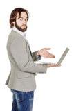 Бородатый бизнесмен с портативным компьютером человеческая эмоция срочная Стоковые Фотографии RF