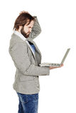 Бородатый бизнесмен с портативным компьютером человеческая эмоция срочная Стоковое фото RF