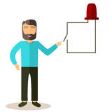 Бородатый парень переключая светоизлучающий диод иллюстрация штока