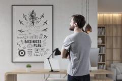 Бородатый плакат бизнесмена и ракеты Стоковое Изображение RF