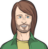 бородатый с волосами длинний человек иллюстрация вектора