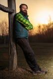 Бородатый фермер на заходе солнца Стоковые Изображения RF