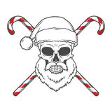 Бородатый череп Санта Клаус с плакатом тросточек конфеты Стоковое Изображение