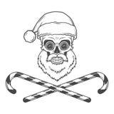 Бородатый череп Санта Клаус с тросточками конфеты и Стоковые Изображения