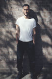 Бородатый человек при татуировка нося пустую белую футболку и черные джинсы Предпосылка стены кирпичей Вертикальный модель-макет, Стоковое фото RF
