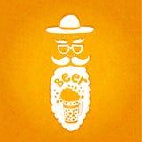 Бородатый человек с усиком, стеклами и стильной шляпой Типографский состав в его бороде Стилизованная сторона с бородой Стоковые Изображения RF