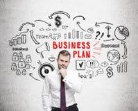 Бородатый эскиз человека, красных и черных бизнес-плана Стоковая Фотография