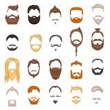 Борода и волосы укомплектовывают личным составом собрание вектора шаржа стиля причёсок лицевого щитка гермошлема Стоковое Изображение
