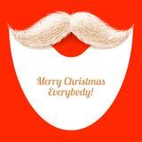 Борода Санта Клауса и усик, рождественская открытка Стоковая Фотография RF