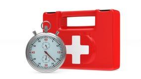 Бортовая аптечка и секундомер на белой предпосылке 3d представляют бесплатная иллюстрация