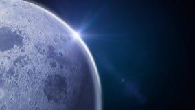 Бортовая луна на голубой предпосылке космоса иллюстрация вектора