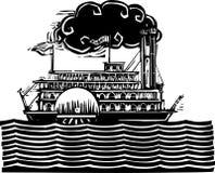 Бортовое речное судно колеса в волнах Стоковая Фотография