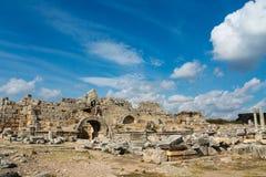 Бортовые руины города древнегреческия Стоковые Изображения RF