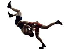 Борцы wrestling силуэт изолированный людьми Стоковые Изображения RF