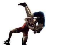 Борцы wrestling силуэт изолированный людьми Стоковое Фото