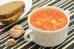борщ супа с хлебом рож Стоковые Изображения