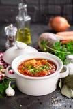 Борщ, традиционный украинский овощной суп бураков Стоковое фото RF