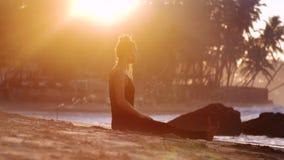 Босоногая девушка сидит на песчаном пляже против силуэтов ладони акции видеоматериалы