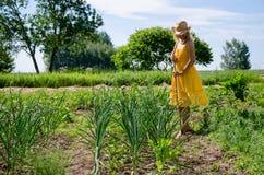 Босоногая работа женщины садовника в саде Стоковые Изображения RF