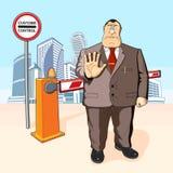 Босс запрещает баррикад Здания иллюстрация штока