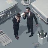 Босс крича на его работнике с мегафоном стоковые фотографии rf