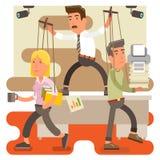 Босс любителя командовать мужской на работниках офиса работы контролируя Иллюстрация штока