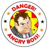Босс ярлыка вектора сердитый! Стоковые Изображения RF