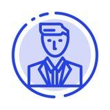 Босс, CEO (главный исполнительный директор), голова, руководитель, г-н линия значок голубой пунктирной линии иллюстрация вектора