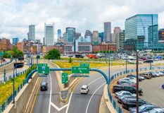 Бостон, США: Горизонт Бостона в летнем дне Стоковая Фотография