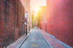 Бостон, улицы холма маяка стоковые фотографии rf