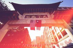 Бостон, улицы Чайна-тауна на ярком солнечном дне стоковое изображение rf