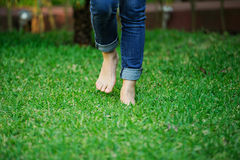 Босые ноги идя в траву Стоковое Изображение RF