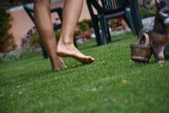Босые ноги ` s девушки идя на славный луг Стоковые Фото
