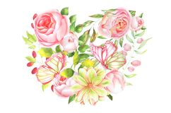 Ботаническая иллюстрация, сердце роз Стоковые Фото