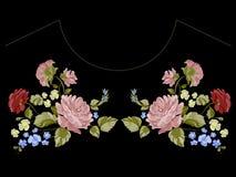 Ботаническая картина neckline тенденции с пионами, розами и забывает меня Стоковые Фото