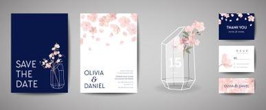 Ботаническая ретро карточка приглашения свадьбы, спасение года сбора винограда дата, дизайн шаблона цветков Сакуры и листья, вишн иллюстрация штока