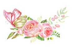 Ботанический букет акварели роз с бабочками Стоковое Изображение