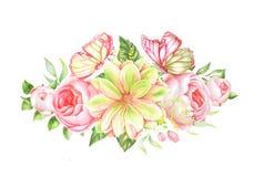 Ботанический букет акварели роз с бабочками Стоковая Фотография